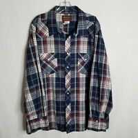 Wrangler Mens Plaid Pearl Button Front L/S Western Shirt Size 3XL Big Man Y327