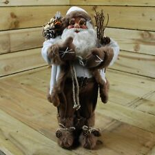 60cm Decorative Plush Standing Father Christmas / Santa Claus in White Coat