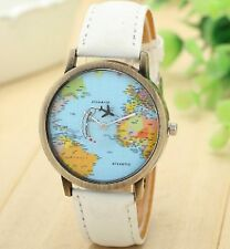 World Map Travel Wrist Watch Analog Leather Strap Steel Back Vintaege White