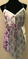 Mixit Woman Womens Cami Tank Top Size 1X Purple Floral Handkerchief Hem Lined