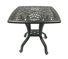 Patio square end table outdoor cast aluminum backyard furniture Desert Bronze