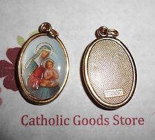 Saint St. Anne Italian 1 inch Gold Tone and Enameled - Medal
