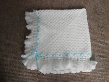 WHITE & BABY BLUE CROCHET 40 INCH HANDMADE BABY BLANKET, REBORN, NEW BABY, SHAWL