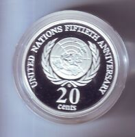 1998 SILVER Proof 20 Cent United Nations 50 Anniversary Coin Masterpieces
