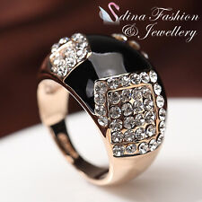 18K Rose Gold Plated Simulated Agate & Diamond Fashion Black Pattern Ring
