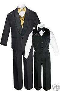 Boys Satin Shawl Lapel Suits Tuxedo EXTRA Gold Bow Tie Vest Sets Outfits Sz S-18