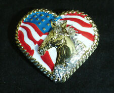 "Western Kitchen Decor 1 1/2"" Bright ~HORSE N HEART~ Concho Fridge Magnet"