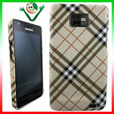PELLICOLA + Custodia cover per Samsung i9100 Galaxy S2 rigida PLAID BEIGE slim