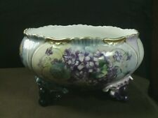 Gorgeous Antique Limoges France Porcelain Hand Painted Large Floral Footed Bowl
