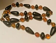 Vintage Black And Amber Beaded Necklace