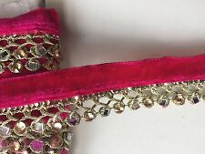 ATTRACTIVE BRAIDED CERISE GOLD VALOUR  CRYSTAL & MIRROR LACE TRIM -SOLD by METRE