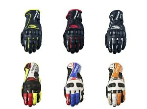 Five RFX4 Replica Adult Motorbike Leather Race Gloves KTM Orange/Yellow/Blue/Red