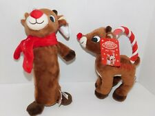 Christmas Pet Dog TWO Toys Rudolph the Red Nose Reindeer Rope Ring & Crinkle