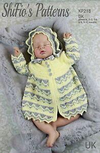 Crochet Pattern for Babies Matinee Jacket and Bonnet, 0-3 Months, 3-6 Months,...