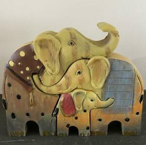 Cute Elephant Family Ornament, Father, Mother and Baby - Resin - Figurine CUTE