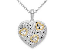 Elegante Collar Colgante de Corazón de plata esterlina con cadena
