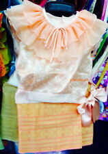 Girl Kid Skirt Top Thai Traditional Dress Outfit Costume Asian Cute Dress 3-12 y
