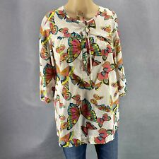 Old Navy Maternity Top Tunic Buttons 3/4 Sleeve White Butterflies Cotton Sz S