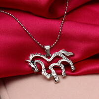 Fashion SILVER TONE CLASSIC HORSE PENDANT NECKLACE CHAIN CUTE HORSE CRYSTAL  HOT