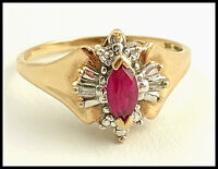 10k Yellow Gold, Marquise Ruby & Diamond Baguette Accented Ring, Size 6.75