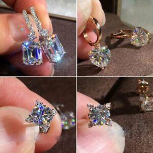 Women Crystal Rhinestone Heart Zircon Earrings Stud Dangle Drop Cushion Cut Gift