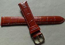 Timex Glossy Brown Bamboo Crocodile Grain 18mm LONG Genuine Leather Watch Band