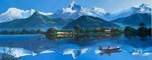 "MOUNT ANNAPURNA POKHARA FEWA LAKE ORIGINAL ACRYLIC PAINTING ON CANVAS 22"" x 52"""