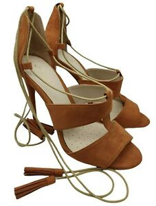 Fiore womens wide fit brown suede lace up heels size 6 uk new