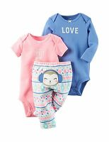 NWT CARTER'S GIRLS 3PC PINK/BLUE BODYSUITS & PANTS MONKEY W/EARMUFFS 3M & 6M