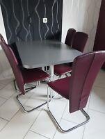 5 Küchenstühle Esszimmerstühle Schwingstühle bordoux-rot