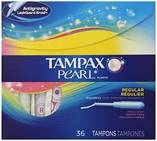 Tampax Pearl Plastic Fresh Scent Tampons, Regular Absorbency, 36 Each