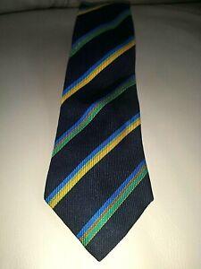 "TURNBULL & ASSER Silk TIE Navy w/ Green,Blue, Gold Stripes Made England 3 5/8"""
