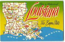 Vintage Chrome Postcard MAP OF LOUISIANA The Bayou State, Baton Rouge