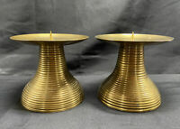 Vintage Set Of 2 brass cone shaped ribbed pillar candle holders