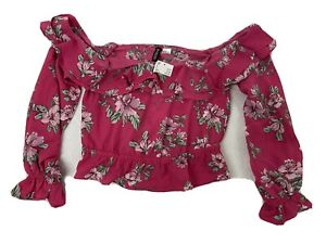Divided H And M Women's Pink floral off the shoulder crop top Uk Size 8 Nwt