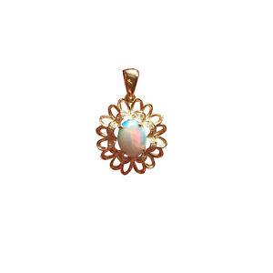 Unique flower style 100% Australia Solid Opal pendant 9K Gold W/ 0.074CT Diamond