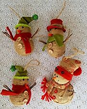 4 Christmas Tree Ornaments Rustic Snowman Family Twine Burlap Felt Hats Holiday