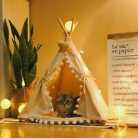 100% Cotton Canvas Pet Teepee House Durable Fold Dog Tent Cats Bed Beige Pompom
