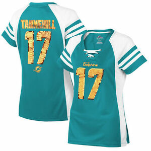 Majestic Miami Dolphins Ryan Tannehill Women's Aqua Draft Him IV Jersey Shirt