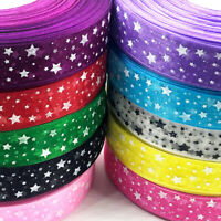 """10Y Christmas 1"""" width red color dot star flower printed organza ribbon"""