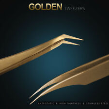 Ultra Precision Stainless Steel Anti Static Golden Eyelashes Extensions Tweezers