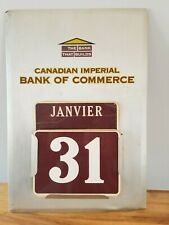 """Vtg 1960 Canadian Imperial Bank Of Commerce Tin Advertising Sign 19"""" Canada Look"""