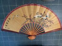"HUGE 80""x48"" Vintage Asian Hand Painted Stork /Crane Wall Fan Artist Signed c725"