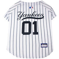 New York Yankees MLB Pets First Officially Licensed Pinstripe Dog Jersey, White