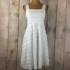 Sandra Darren White Eyelet Lace Dress Sz 10P