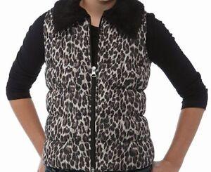 J KhakiTM Faux Fur Collar Puffer Vest Girls Leopard or Silver New MSRP $38.00
