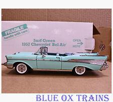 Danbury Mint Surf Green 1957 Chevrolet Bel Air Convertible 1:24 Title and Box