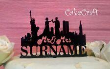 Mr & Mrs New York City Acrilico nero Matrimonio,anniversario topper per torta