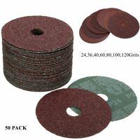 50Pcs 115mm Fibre Sanding Grinding Discs Pad 24-120 Grit For Angle Grinder 🔥