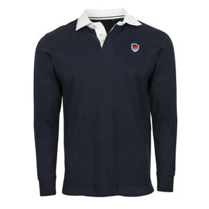Keegan Hirst Rugby Polo Shirt Long Sleeve 100% Cotton in Navy Sizes S-XXXL SSAFA